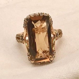 Ring size 6 smoky quart center stone and crystals